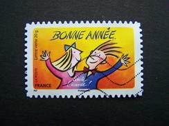 N°1045 BONNE ANNEE OBLITERE ANNEE 2014  DU CARNET BONNE ANNEE TOUTE L'ANNEE AUTOCOLLANT ADHESIF - France