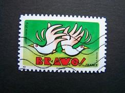 N°1051 BRAVO OBLITERE ANNEE 2014  DU CARNET BONNE ANNEE TOUTE L'ANNEE AUTOCOLLANT ADHESIF - France