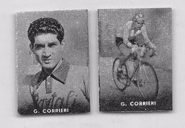 """42 """"GIOVANNI CORRIERI 1920 - 2017 CICLISTA """" COPPIA DI FIGURINE ORIGINALI """"NANNINA"""" 1952 - Ciclismo"""