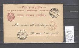 Entier Suisse  Avec Cachet D'entrée Ambulant  Suisse A - Marseille  - Paris En Rouge  - 1880 Pour Clermont Ferrand - Correo Ferroviario
