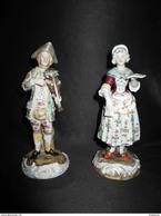 Ancien Couple Musicien Violoniste Chanteuse Porcelaine Peinte Allemagne XIX ème - Non Classés