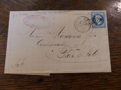 28-29.11.17-LAC De Origny-ste- Benoite ( GC 2739),a Voir!! Illustrée,variété Tache Sur La Tete - 1863-1870 Napoléon III Lauré