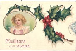 Bonne Année Par Illustrateur Houx Et Cadre Relief / Embossed - Médaillon Enfant TTB Timbrée - Neujahr