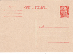 ENTIER POSTAL MARIANNE De GANDON 12 Francs Orange Neuf Version Carte Postale - Entiers Postaux