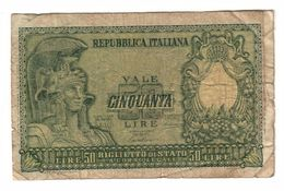 Italy 50 Lire 1951 .L. - [ 2] 1946-… Republik