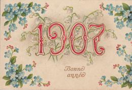 ANNEE 1907  + FLEURS          CARTE EN RELIEF ET DOREE - Nieuwjaar