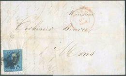 N°2 - Epaulette 20 Centimes Bleue, Juste Au Coin Inférieur Sinon Bien Margée Et Petit Bord De Feuille Droit, Obl. P.4 Su - 1849 Epaulettes