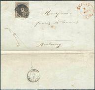 N°3 – Médaillon 10 Centimes Brun, TB Margé, Obl. P.21 S/L. De BOUSSU Le 2 Octobre 1851 Vers Antoing 3-X (cachet Type 18) - 1849-1850 Médaillons (3/5)
