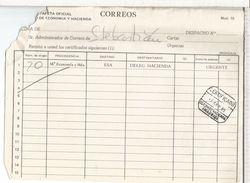 MADRID DOCUMENTO INTERNO CORREOS CON MAT CERTIFICADO ESTAFETA MINISTERIO DE HACIENDA DETERIORADO - 1931-Hoy: 2ª República - ... Juan Carlos I