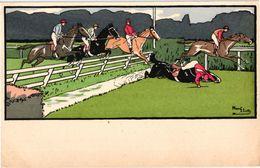 3 CPA  Illustrator Harry Eliott  Horses Jockey Jumping - Elliot