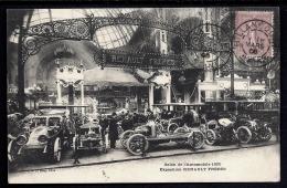 CPA ANCIENNE FRANCE- PARIS (75)- SALON DE L'AUTOMOBILE 1905-EXPOSITION RENAULT- TRES GROS PLAN D'ENSEMBLE- ANIMATION - Tentoonstellingen