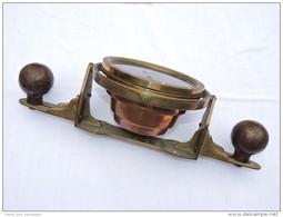 BEL ANCIEN COMPAS + SUPPORT BRONZE + BOULES   à Voir ....... - Technique Nautique & Instruments