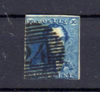 1849   Léopold 1er, 20c   épaulettes, N° 2 B  Cote 70 €, - 1849 Schulterklappen