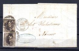 1865  Léopold 1er, Médaillons, 2 X 10c Sur Lettre Bruxelles-Namur - 1849-1850 Médaillons (3/5)