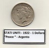 "Stati Uniti -  1922 - 1 Dollaro ""Peace"" - Argento - (FDC6554) - Federal Issues"