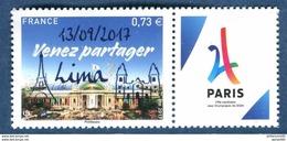 FRANCE 2017 VENEZ PARTAGER PARIS VILLE HOTE DES JEUX OLYMPIQUE DE 2024 SURCHARGE 13/09/2017 LIMA AVEC VIGNETTE - Nuevos