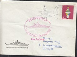 "Schiffspost Schulschiff ""Deutschland"", Las Palmas, Stempel: Kiel 11.9.1968 - Marittimi"