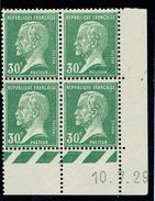 174 30 C Pasteur Vert Bloc Coin Daté Année 1927  B Et C Et D - ....-1929