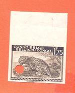 BELGIAN CONGO 1942. Leopard 1,75 Non Dentelé Punched Specimens: Mh* [spécimen,Muster,muestra, ] - Congo Belge
