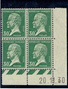 174 30 C Pasteur Vert Bloc Coin Daté Année 1929  B Et D - ....-1929