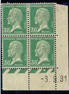 174 30 C Pasteur Vert Bloc Coin Daté Année 1931  B Et D - ....-1929