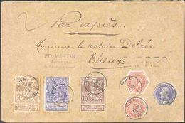N°71/73 + TG N°3-9(2) Obl. Sc SPA Sur Enveloppe En Double Port Et EXPRES Du 17 Février 1897 Vers Theux (télégraphique). - Telegraph