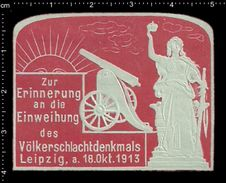 German Poster Stamp, Reklamemarke, Cannon, Monument, Sun, Leipzig, Kanone, Denkmal, Sonne - Monumenti