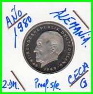 ALEMANIA - GERMANY MONEDA DE 2.00 DM. AÑO 1980-G CALIDAD  PROOF S/C - [ 7] 1949-… : RFA - Rep. Fed. Alemana