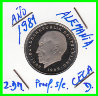 ALEMANIA - GERMANY MONEDA DE 2.00 DM. AÑO 1981-D CALIDAD  PROOF S/C - [ 7] 1949-… : RFA - Rep. Fed. Alemana