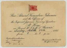 Bateaux . Carton Signalant La Présence Du Contre-amiral Kamesaburo Nakamura à Bord Du Croiseur Cuirassé Asama . 1935 . - Announcements