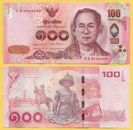 Thailand 100 Baht P-120 2015 Signature 87 UNC - Tailandia