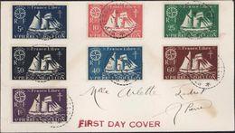 Timbres France Libre St Pierre Et Miquelon Yt 296 à 302 1ère Jour D'utilisation First Day Cover CAD 17 8 1942 Guerre 40 - Libération