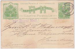 HAITI 1898 (5.12.) P.ST.CARD PORT-AU-PRINCE TO HAMBURG GERMANY - Postcards