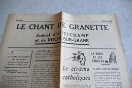 26 - Autichamp Et Roche-sur-Grâne *** Journal Paroissial ** Le Chant De Granette **  / J 56 - Other