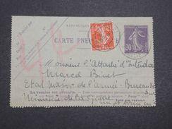 FRANCE - Carte Lettre Pneumatique Pour L' Etat Major De L 'Armée En 1917 - L 9993 - Pneumatiques