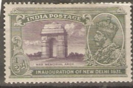 India  1931  SG 227w  1/2a Mounted Mint - India (...-1947)