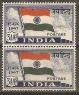 India  1947  SG 302  3,1/2a Unmounted Mint Pair - India (...-1947)