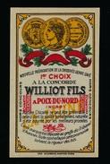 Ancienne  étiquette Chicorée A La Concorde Williot Fils  à Poix Du Nord 59 - Fruits Et Légumes