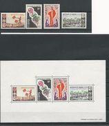 DAHOMEY Scott 222-225, 225a Yvert 242-245, BF5 (4+BLOC) ** Sauf 5Fo Cote 4,80$ 1966 - Bénin – Dahomey (1960-...)