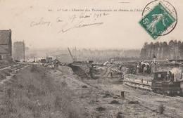 CPA:TRAIN OUVRIERS AU CHANTIER DES TERRASSEMENTS CHEMIN DE L'ABBAYE ARLEUX (59)..ÉCRITE - Arleux