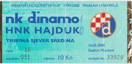 NK DINAMO  ( ZAGREB )  Vs  HNK HAJDUK ( SPLIT )  --  FOOTBALL TICKET  --   2000 - Eintrittskarten