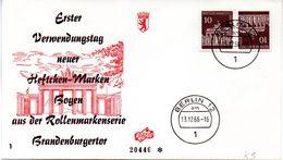 """WB Schmuck-FDC  Freimarken """"Brandenburger Tor"""", Mi. Zdr. K 5 ETST BERLIN 12  13.12.1966 - FDC: Briefe"""