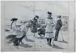 Sur La Plage - Le Dernière Partie De Croquet - Page Original 1881 - Historical Documents