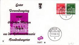 """WB Schmuck-FDC  Freimarken """"Brandenburger Tor"""", Mi. Zdr. W 42 ETST BERLIN 12  13.12.1966 - [5] Berlin"""