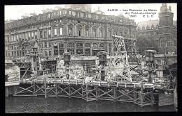CPA ANCIENNE FRANCE- PARIS (75)- TRAVAUX DU MÉTRO- AU PONT- AU-CHANGE- POMPES A PRESSURISER GROS PLAN - Métro Parisien, Gares