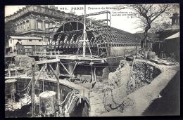 CPA ANCIENNE FRANCE- PARIS (75)- TRAVAUX DU MÉTRO- LES CAISSONS AU MARCHÉ AUX OISEAUX- TRES GROS PLAN- ARBRE - Métro Parisien, Gares