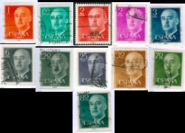 SPAGNA, SPAIN, ESPANA, ESPAGNE, COMMEMORATIVO, GENERALE FRANCO, 1955, USATI,  YT 856-858,862-866,868 (11 Valori) - 1931-Today: 2nd Rep - ... Juan Carlos I