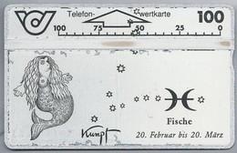 AT.- Telefoonkaart. Telefon-wertkarte. Telefonwertkarte. Fische 20 Februar Bis 20 März. Kumpt. Oostenrijk. - Dierenriem