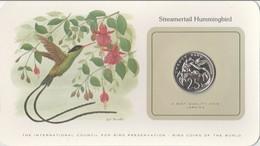BIRD COINS OF THE WORLD - JAMAICA - 25C - STREAMERTAIL HUMMINGBIRD                              -  TDA20A - Jamaica