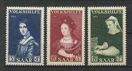 SARRE 1956 N° 358/360 ** Neufs MNH Superbes Cote 1.10 € Peintures Vinci Rembrandt Musique épinette Paintings Tableaux - 1947-56 Protectorate